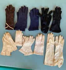 Vintage Ladies Glove Lot Of 9 Pairs Black, Brown, Navy & White.