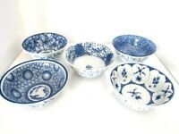Asian Fine Porcelain Footed Blue & White Rice Bowl