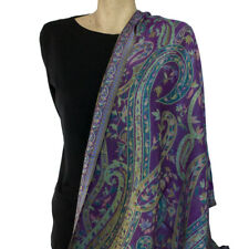 Green Purple Paisley Pashmina Wrap Shawl