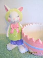 Vintage Collectible Porcelain Easter Bunny Cracked Egg Candy Dish, Planter