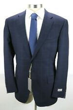 NWT $2350 CANALI 1934 Dark Blue Check Impeccabile Wool Suit 48 R (fits 46 R)