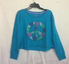 Girls size 18 Justice blue long sleeve sweatshirt sparkle studs peace sign