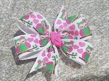 Owl hearts bows non slip alligator clip 3inches pinwheel pink green