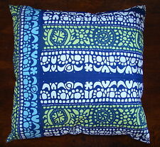 "Handmade Marimekko Blue White Pidot Pillow Cushion Cover, Case 14"" Finland"
