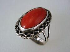 OLD NAVAJO STERLING SILVER & NATURAL MEDITERRANEAN RED CORAL RING sz 7.5