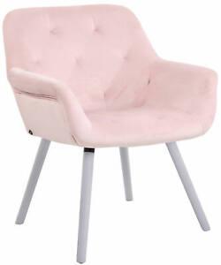 #LA94692/1506 Esszimmerstuhl Cassidy Samt weiß (eiche) pink Polsterstuhl Stuhl