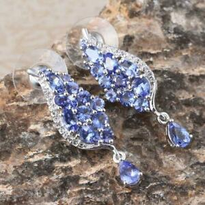 Tanzanite  White Topaz Platinum Over Sterling Silver Cluster Drop Earrings
