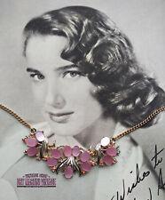 VINTAGE 1950s PRETTY PINK AURORA BOREALIS RHINESTONE THERMOSET NECKLACE PARTY