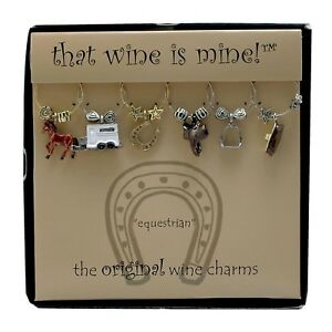 Wine Charms Equestrian Western Horse Cowboy Cowgirl Decor Gift Her Him New