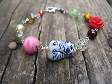 Cat Bracelet Red Rose Gemstones Crystals rosary style blue white porcelain cat