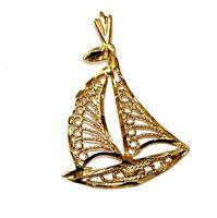 14k yellow gold sail boat charm pendant slide 1.4g estate vintage antique