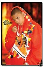 RAP R&B ARTIST CHRIS BROWN IN ORANGE HOODIE POSTER 22x34 NEW FREE SHIPPING