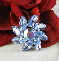 Vintage Dazzling Blue Rhinestone Mini  Pin Brooch CAT RESCUE