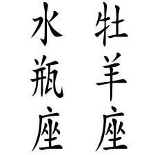 Wandtattoo Aufkleber - 2 Sternzeichen, chinesische Zeichen