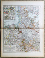 Original 1898 Map of Hanover, Schleswig Holstein & Lesser North German States