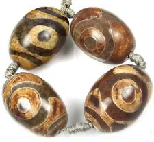 4 Tibetan Old Agate Dzi Heaven Eye Barrel Pendant Focal Beads 25-28mm