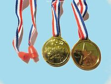 100 GOLD WINNER MEDAL WITH RIBBON  PARTY BAG FILLERS TOYS