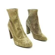 New Look Green Gold Sparkly Sock Ankle Boots UK 7 Wide Fit EU 40 Block Heel