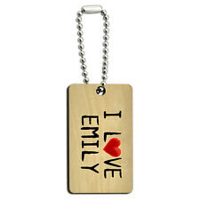I Love Emily Written on Paper Wood Wooden Rectangle Key Chain