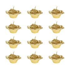 "Mega Candles - Unscented 2"" Floating Flower Candles - Gold, Set of 12"