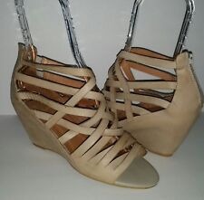 Jeffrey Campbell Ibiza Zuma Strappy Taupe Nude Leather Wedge Sandals Women's 10