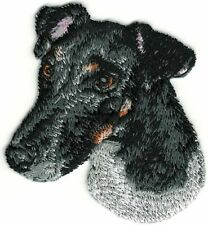 """2 1/4""""x2 1/2"""" Smooth Black White Fox Terrier Portrait Dog Breed Embroidery Patch"""