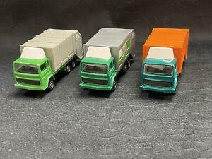 Lot of 3 Majorette Refuse Truck Garbage Truck