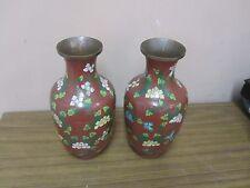 "Pair @ 2  Vintage Chinese Cloisonne Vase Floral 8"" Enamel on Copper"