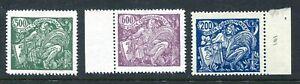 Czechoslovakia 1920-25 high value 500h green, 600h purple & 200h. blue fine mint