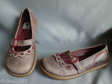 KICKERS CHAUSSURE SANDALE BABIES FILLE CUIR MARRON ROUGE GIRL BROWN SHOES pt 35