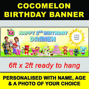 ***NEW*** PERSONALISED COCOMELON BIRTHDAY BANNER 6ft x 2ft SIZE