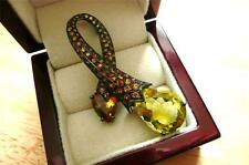 DESIGNER LEMON QUARTZ, CITRINE YELLOW ORANGE SAPPHIRE 925 SILVER RHODIUM BROOCH