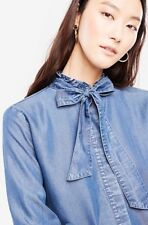 Ann Taylor Womens Size Small Chambray Tie Neck Ruffle Sleeves Blouse In Blue