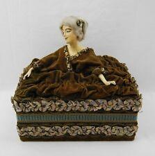 Antique 1920s Boudoir Half Doll Jewelry / Trinket Box - Designer Branded