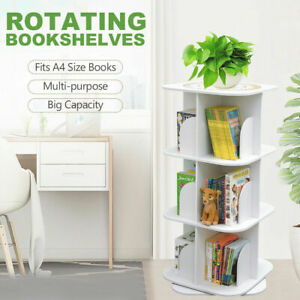 Square 3-Tier Swivel Rotating Storage Display Bookcase Bookshelf White 97cm