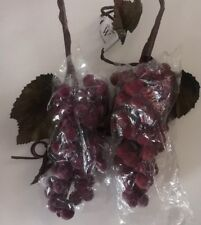"""Vintage Set of 2 Sugar Coated"""" Artificial Fruit Grape Clusters Nwt Red/Purple"""