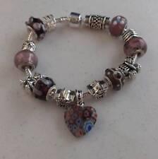 89575fa52fec Plata Corazón Púrpura   Perla de cristal Pulsera de Dijes  CH24
