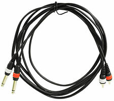 "Rockville RMDPR10B 10' Dual 1/4"" TS to Dual RCA Cable 100% Copper"