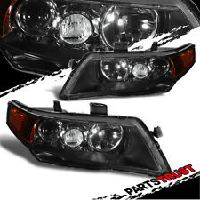 2004-2008 Acura TSX Projector Factory Style Black Headlights 2005 2006 2007