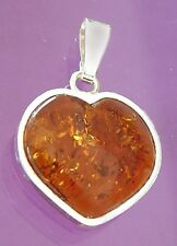 Herz aus echtem Bernstein - Anhänger Herz Silber 925 Silberanhänger Herzanhänger