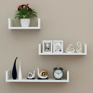 3Pcs U Shaped Wall Mounted Floating Shelves Hanging Storage Display Shelf Unit