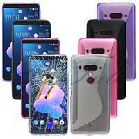 "For HTC Desire U12 + Plus (6"") New Purple Slim Gel Phone Case + Tempered Glass"
