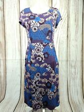 White Stuff Purple Stretchy Hippie Floral Print Dress with Pockets Size 10