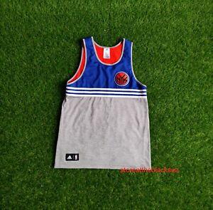 New York Knicks BASKETBALL SHIRT JERSEY TRIKOT ADIDAS BLUE ORANGE NBA MEN M