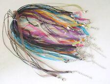 50 pcs mixed color Organza Ribbon Waxen Cord Necklace