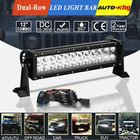 "12"" Inch Cree LED Work Light Bar Flood Spot Combo Offroad Driving Lamp + Wiring"