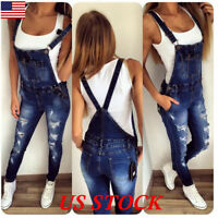 Casual Women Straps Jumpsuit Denim Jeans Bib Pants Overalls Rompers Trousers USA