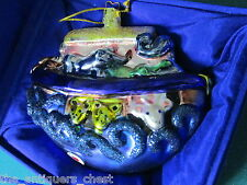 """Susan Torrence  Christmas ornament """"Noah's Ark"""" Glass new in box, 4 x 5 1/2"""""""