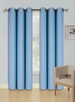 """2 PANEL SOLID  LIGHT BLUE THERMAL 100% BLACKOUT GROMMET WINDOW CURTAIN 84"""" L #68"""