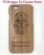 "Personalised Engraved Wooden bamboo iphone 6 4.7"" Case,Cover 72 Design Choices"